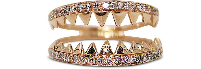 Shark Jaws Pink Gold Ring w/Pavé Diamonds - Bernard Delettrez