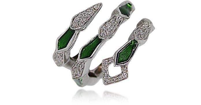White Gold Spiral Snake Ring w/ Pavé Diamonds&Green Enamel - Bernard Delettrez