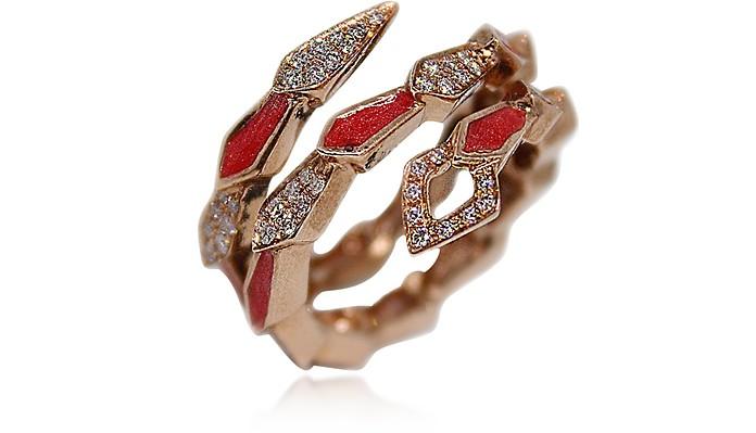 Pink Gold Spiral Snake Ring w/ Pavé Diamonds&Salmon Pink Enamel - Bernard Delettrez