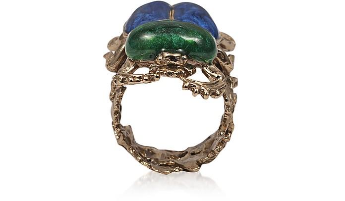 Bronze Scarab Ring w/ Hand Made Enamel - Bernard Delettrez