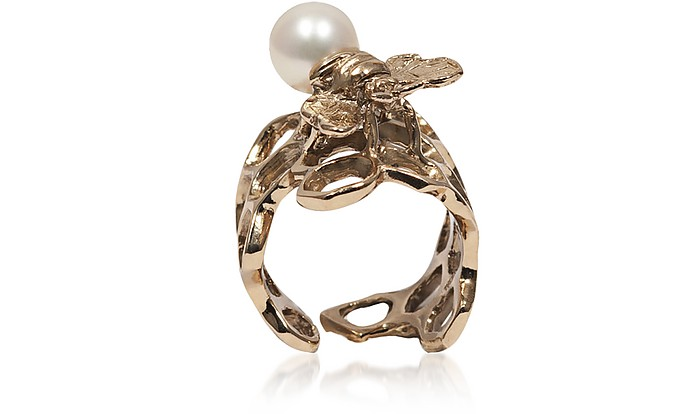 Honeycomb Bronze Ring w/ Bee & Pearl - Bernard Delettrez