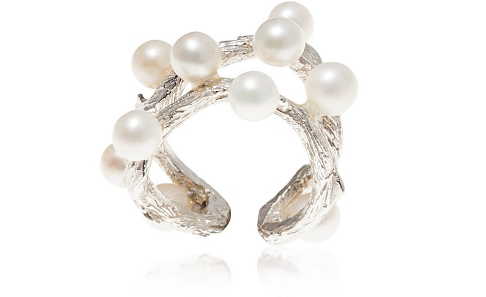 Thorny Branch Bronze Ring w/ Pearls - Bernard Delettrez