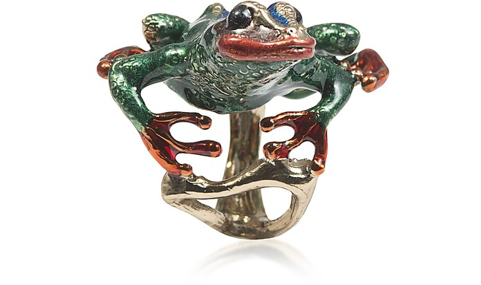 Long Froggy Bronze Ring w/ Enamel - Bernard Delettrez