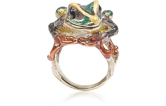 Big Froggy Bronze Ring w/ Enamel - Bernard Delettrez