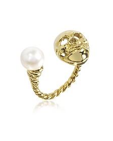Ring Skull mit Perle in Bronze - Bernard Delettrez