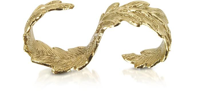 Two Fingers Bronze Leafy Ring - Bernard Delettrez