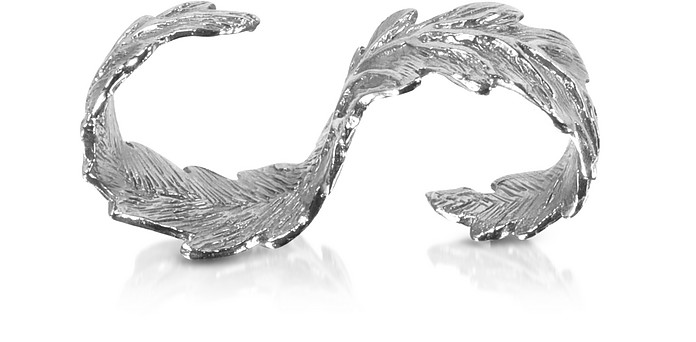 Two Fingers Silver Leafy Ring - Bernard Delettrez