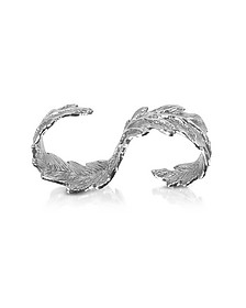 Two Fingers Silver Leafy Ring - Bernard Delettrez