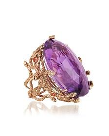 Medusa Rose Gold w/Dark Violet Amethyst Medusa Ring - Bernard Delettrez
