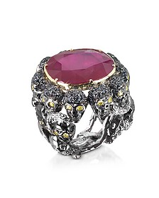 Skulls and Snakes Black Ring w/Glass-treated Ruby - Bernard Delettrez