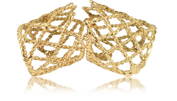 Gold Articulated Basket Weave Ring - Bernard Delettrez