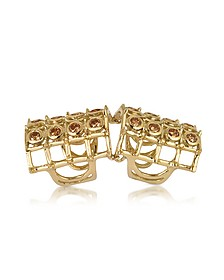 Articulated Cage and Studs w/Cognac Diamonds Ring