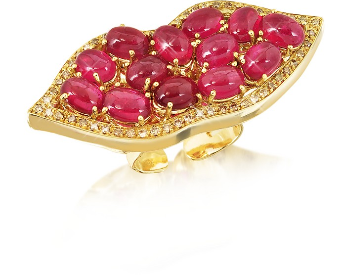 Big Mouth w/Cabochon Rubies Gold Ring - Bernard Delettrez
