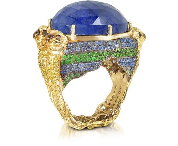 Four Parrots w/Cabochon Tanzanite Gold Pave Ring - Bernard Delettrez