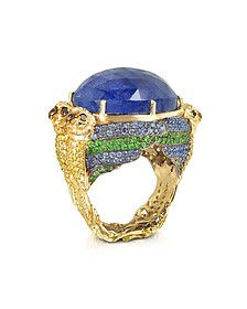 Four Parrots w/Cabochon Tanzanite Gold Pave Ring