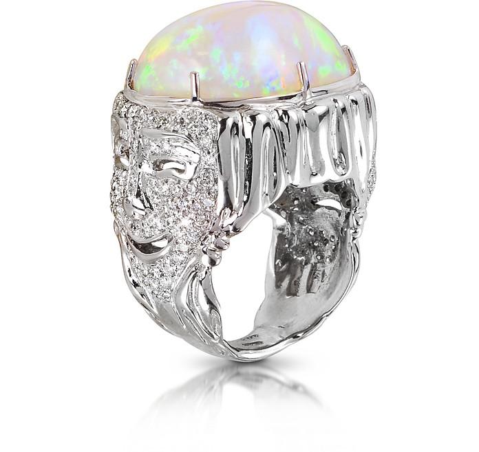 Drama Masks Gold Pave Ring w/Opal and Diamonds - Bernard Delettrez