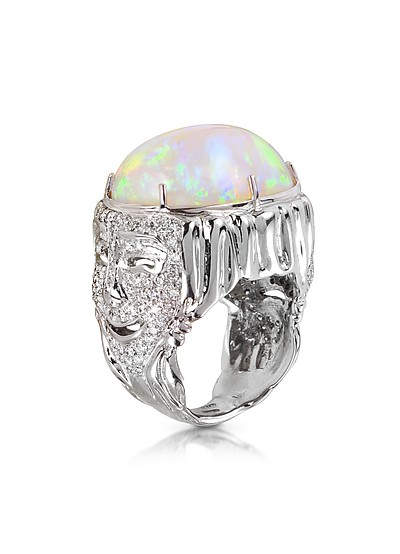 Drama Masks Gold Pave Ring w/Opal and Diamonds - Bernard Delettrez
