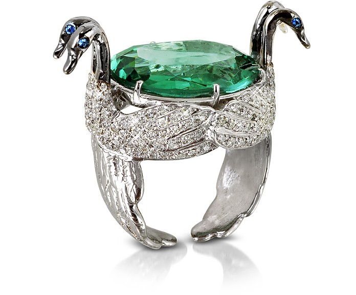 Swan Fluorite and Gold Ring - Bernard Delettrez