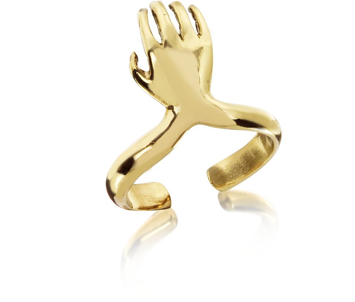 Bronze Midi Ring w/Right Hand - Bernard Delettrez