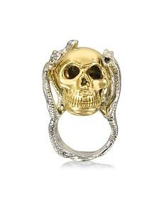 Four Snakes Ring w/Bronze Skull - Bernard Delettrez