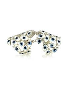 Sterling Silver Articulated Ring w/Blue Eyes - Bernard Delettrez
