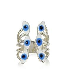 Sterling Silver Ring w/6 Blue Eyes - Bernard Delettrez