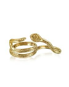 Two Fingers Bronze Ring w/2 Laps Snake - Bernard Delettrez