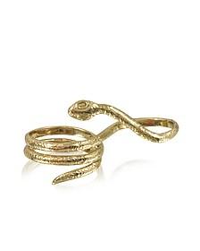 Two Fingers Bronze Ring w/3 Laps Snake - Bernard Delettrez