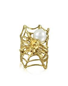 Web and Spyder Bronze Ring w/Pearl - Bernard Delettrez
