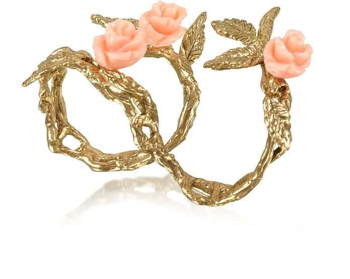 Two Fingers Leafy Bronze Ring w/3 Pink Resin Roses - Bernard Delettrez