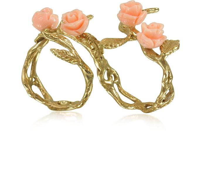Two Fingers Leafy Bronze Ring w/4 Pink Resin Roses - Bernard Delettrez