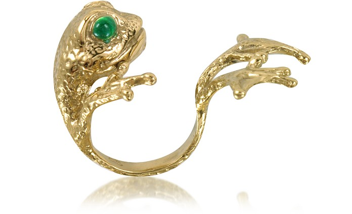 Bronze Frog Ring w/Big Paws  - Bernard Delettrez