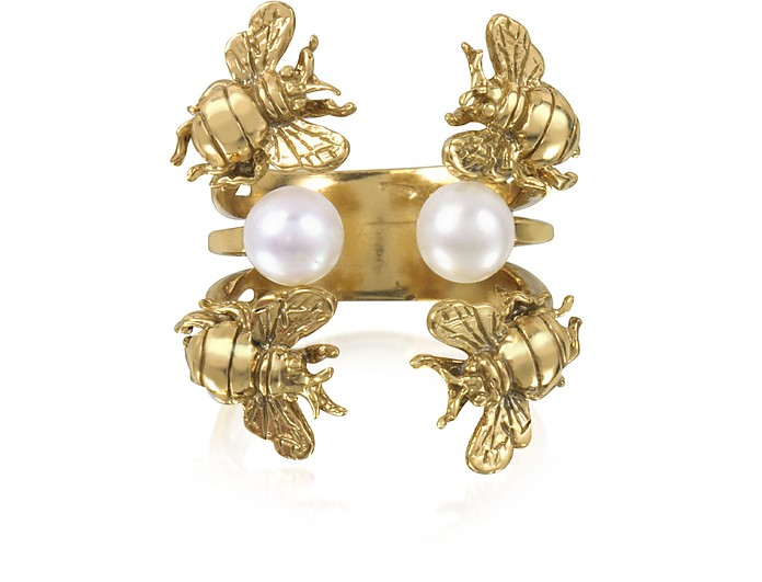 Bees and Pearls Ring aus Bronze - Bernard Delettrez