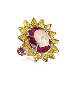Bague en or avec rubis et saphirs - Bernard Delettrez