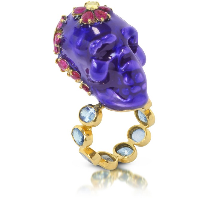 Electro Skull Ring with Red and Blue Flowers - Bernard Delettrez