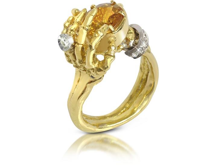 Yellow Sapphires and Gold Skeleton Hands Ring - Bernard Delettrez
