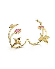 Doppelter Ring in Gold mit Schmetterlingen und rosa Saphir - Bernard Delettrez