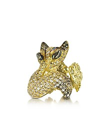 Gold and Cognac Diamonds Fox Ring - Bernard Delettrez