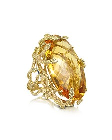 Medusa Gold and Citrine Ring