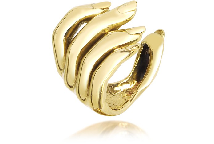 Goldtone Open Hand Women's Bronze Ring - Bernard Delettrez