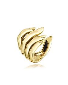 Goldtone Open Hand Women's Bronze Ring