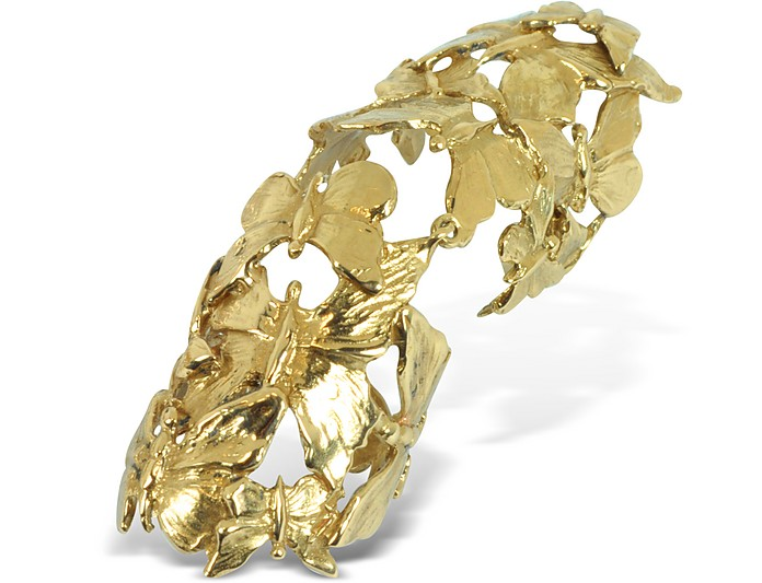 Goldtone Butterflies Articulated Bronze Ring - Bernard Delettrez
