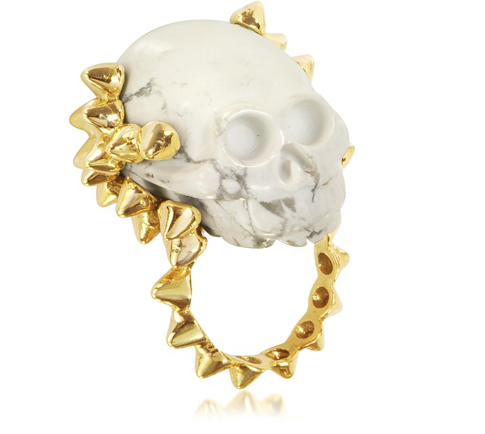 Golden Studs with Marble Skull Ring - Bernard Delettrez