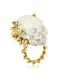 Ring aus Bronze mit Totenkopf aus Marmor - Bernard Delettrez