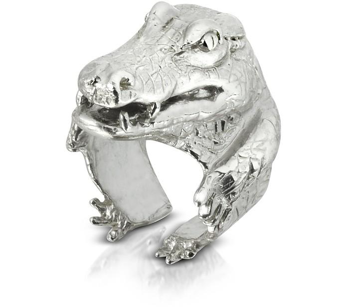 Silver Crocodile Ring - Bernard Delettrez