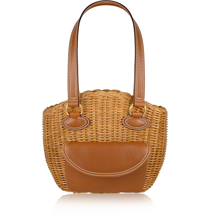 Capaf Line Light Brown Wicker and Leather Shoulder Bag - Forzieri