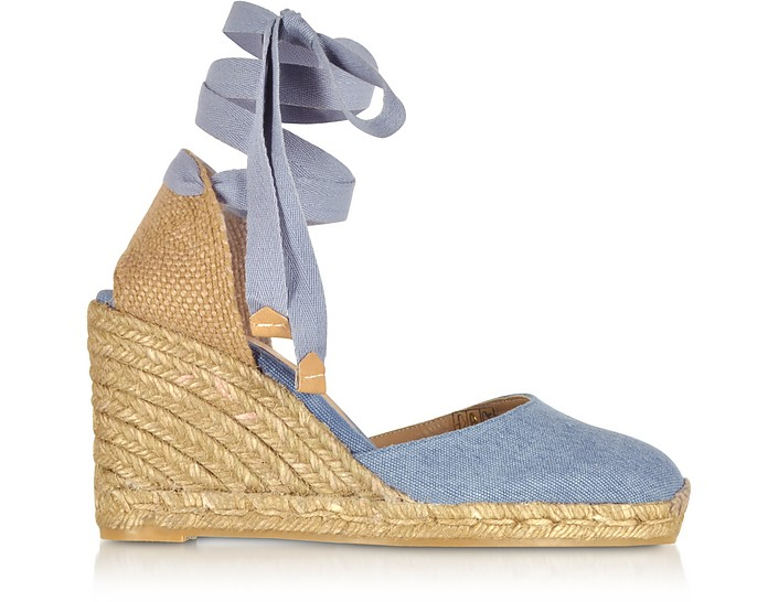 Carina Light Denim Canvas Wedge Espadrilles - Castaner