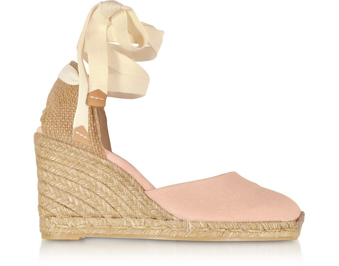 Carina Pale Pink Canvas Wedge Espadrilles - Castaner / カスタニエール