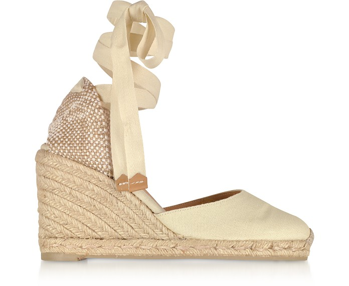 34c49161ab98 Castaner Carina Ivory Canvas Wedge Espadrilles 9 WOMENS US