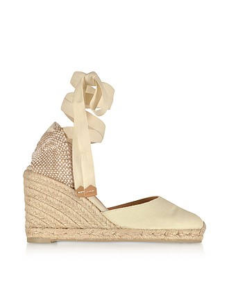 2cd80ed47ea Carina Ivory Canvas Wedge Espadrilles - Castaner